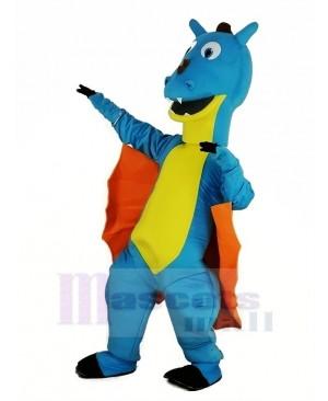 Blue Dragon with Orange Wings Mascot Costume Animal