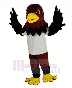 Cool Black Hawk with White T-shirt Mascot Costume Animal