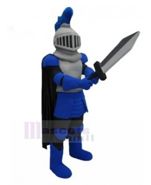 Handsome Blue Knight Mascot Costume People