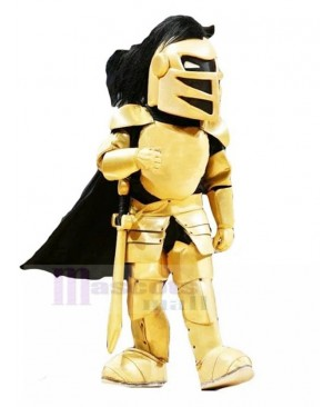Serious Golden Knight Mascot Costume People