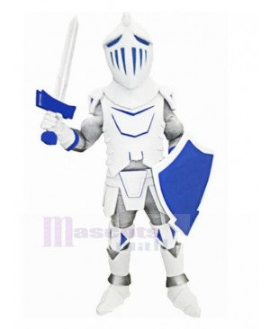 White Knight with Blue Shield Mascot Costume People