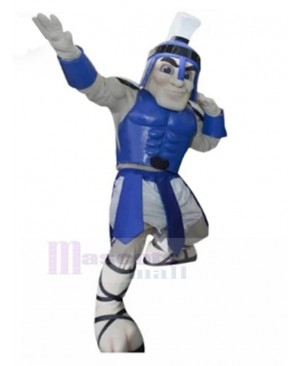 Strong Blue Spartan Knight Mascot Costume People