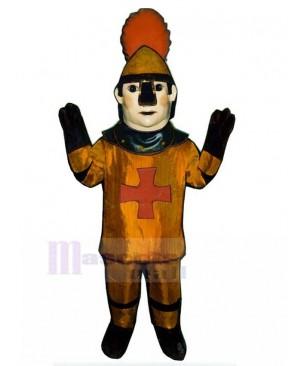 Bronzed Crusader Knight Mascot Costume People