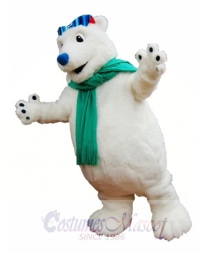 Polar Bear Mascot Costume White Bear with Scarf Mascot Costumes Animal