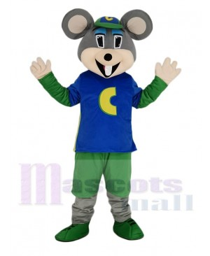 Chuck E. Cheese Mascot Costume Mouse with Green Hat