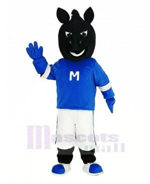 Black Horse in Blue Mascot Costume Animal