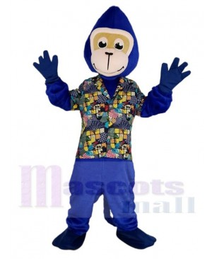 Gorilla Monkey in Floral Shirt Mascot Costume